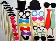 Photo Booth Props 31 Piece Ultimate Collection by PropsOnSticks Kids Photo Props, Diy Photo Booth, Photo Booths, Felt Crafts, Diy Crafts, Stick Photo, Silvester Party, Party Props, Party Ideas