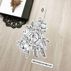 Dotwork Deathly Hallow flowers tattoo design - included in my mega Harry Potter . - Dotwork Deathly Hallow flowers tattoo design – included in my mega Harry Potter design collection - Future Tattoos, New Tattoos, Small Tattoos, Cool Tattoos, Tattoo Tod, Hp Tattoo, Harry Potter Tattoo Sleeve, Small Harry Potter Tattoos, Blackwork