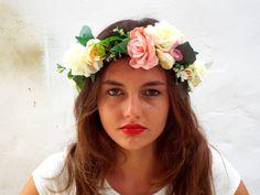 Allumer la Couronne de fleur rose casque nuptiale par DelosArtist