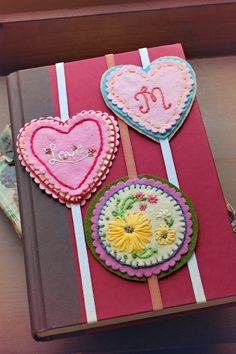 Hand Embroidered Valentine Bookmarks. Need to make these for Inez who ALWAYS loses her bookmarks!