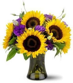 sunflower and purple flower arrangement - good size arrangement for mason jars but with ivory or blue flowers not purple