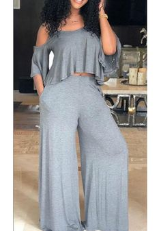 Sum All Chic, Shop Grey Ruffle Cut Out Spaghetti Strap U-neck Elegant Party Wide Leg Long Jumpsuit online. Crop Top Outfits, Curvy Outfits, Chic Outfits, Plus Size Outfits, Fashion Outfits, Big Girl Fashion, Curvy Fashion, Look Fashion, Plus Size Fashion