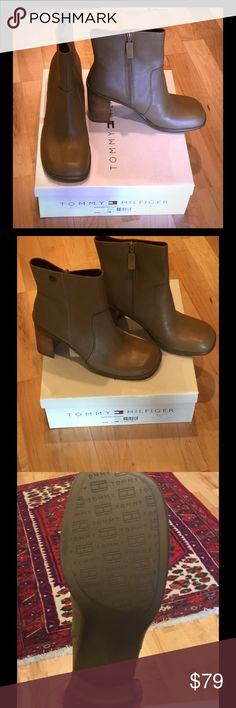 "Tommy Hilfiger Block Heeled Boots On trend block heeled boots from Tommy Hilfiger, never worn, soft taupe colored leather, side zip. These are ""vintage"" had them a long time but never worn, now back in fashion Tommy Hilfiger Shoes Ankle Boots & Booties"
