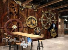 Pirate Ship Wheel Compass Travel Wood Art Wall Murals Wallpaper Decals Prints Decor The Effective Pictures We Offer You About nautical decor party A quality picture can tell you many t Pirate Ship Wheel, Pub Interior, Wallpaper Aesthetic, Nautical Home, Pet Bottle, Custom Wallpaper, Restaurant Design, Wood Wall Art, Wall Murals