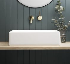 It all about sage tones and Raw Brushed Brass tapware! Browse our full collection online now. Bathroom Trends, Brass Bathroom, Shabby Chic Bathroom, Bathroom Mirror, Round Mirror Bathroom, Bathroom, Chic Bathroom Decor, Bathroom Tapware, Bathroom Inspiration