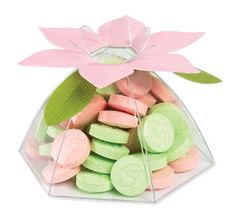 Pink and green Sweet Tarts in a flower favor box! Apple Blossom Festival, Wood Dice, Cut Crease, Favor Boxes, Special Day, Pink And Green, Wedding Favors, Birthdays, Sweet Tarts