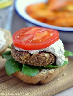 """Lentil Walnut-Apple Burgers topped with """"Almonnaise"""""""
