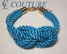 Turquoise Nautical Silk Rope Infinite Knot Bracelet by CLCouture