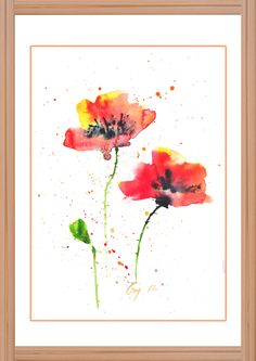Red Poppy Art, Original watercolor painting with signed, Wall Decor, Home Decor…