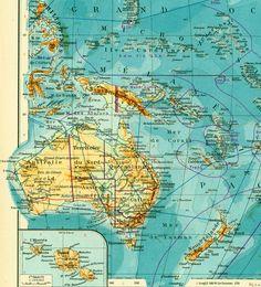 1950 Carte Australie Oceanie. carte des iles du Pacifique.  Planche Originale Atlas Geographie Grand Format