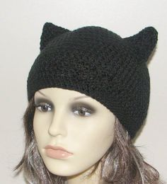 Crochet pattern for beanie hat with Kitty Cat ears  by Stitchykits