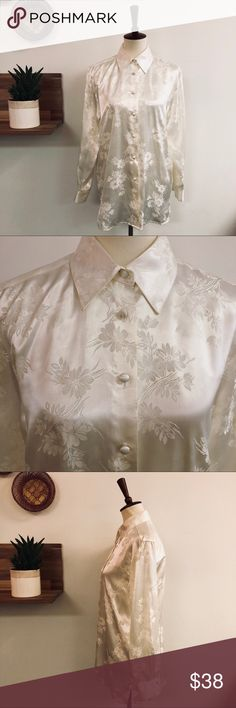 "Vintage Off-White Brocade Button Up Beautiful brocade button up. Tags removed. Flat measurements: PTP 20"" , shoulder to bottom hem 28.5"". Besides one small mark on a button (see pic) blouse is in excellent condition. Vintage Tops Button Down Shirts"