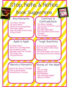 Stop, Note, & Notice list of book recommendations for the signposts.