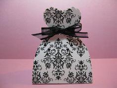 Set of 10 Black and White Damask Wedding Bride Dress by Parischick, $26.00