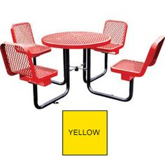 """36"""" Round Table with Chairs, Surface Mount, Expanded Metal - Yellow"""