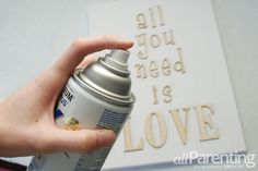 DIY wooden letters on canvas