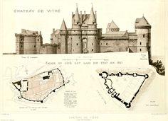 Elevation and plans of the Chateau de Vitré, France