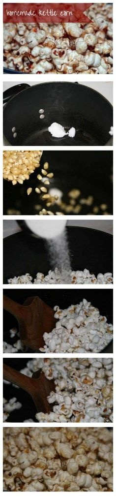 How to make homemade kettle corn. This is a delicious (and cheap!) snack for a crowd and it's easy to keep the ingredients ready in the pantry. This is a great snack for cozy winter evenings.