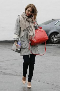 Take Styling Cues From Jessica Alba's Cool-Girl Street Style: Jessica Alba was perfectly polished in a long tweed H coat, pointed nude pumps, and a vibrant red Tory Burch satchel while chatting on the phone in LA.
