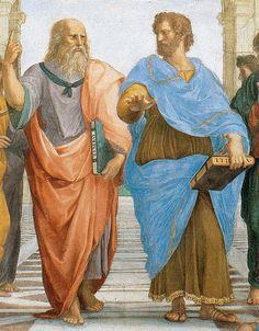 Raphael - Stanza della Segnatura - Vatican - School of Athens, fresco detail with a portrait of Leonardo da Vinci as Plato