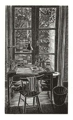 """Pam's Desk"", by Andy English. Wood engraving."
