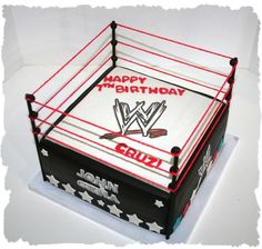 A W wrestling ring cake