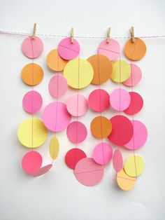 Pink Yellow and Pale Orange Paper Garland