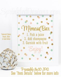 Mimosa Bar Party Sign - Mimosa Bar Printable Sign, Mint Peach Gold Glitter Baby or Bridal Shower Brunch Ideas - Monograms and Mimosas Shower