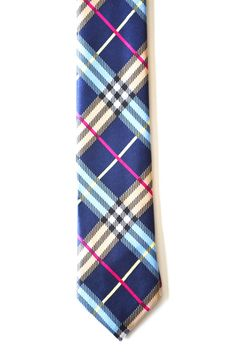 Mens Tie Multi Color Blue Modern Tartan Pattern by TiestheKnot, $8.99