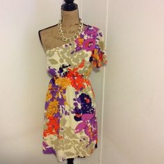 """Jaloux One Shoulder Boutique Dress Beautiful one shoulder dress. This is a statement dress with beautiful colors. Size is medium. 100% silk she'll and 100% polyester lining. Length is apprx 34"""" long Jaloux Dresses Mini"""