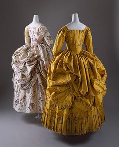 """Two """"robe a la polonaise"""" from 1780-85. They are actually American, silk de chine. Same attribution."""