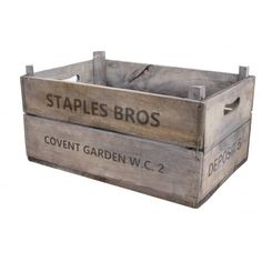 Made from recycled wood. Great for stacked storage or turn them on end to make a really unique shelving unit. They are made from recycled wood and are nice and strong. Wooden Storage Boxes, Storage Containers, Storage Baskets, Apple Boxes, Apple Crates, Wood Tool Box, Wood Tools, Vegetable Crates, Vintage Style