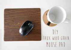 faux wood grain mouse pad