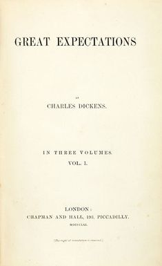 The title page of Vol. 1 of the first edition of Charles Dickens' Great Expectations (1861)