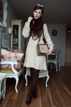 60's knit dress and faux short ponytail