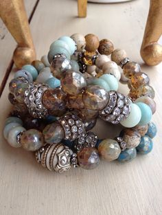 Mixed gemstone Bohemian glam blue neutral cashmere beachy BoHo vintage rhinestone layering stretch bracelet