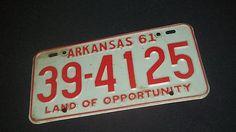 Vintage 1961 Arkansas License Plate - Land of Opportunity 39-4125