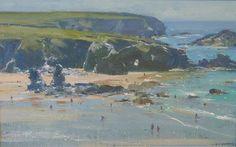 Bathers Porthcthan Beach, North Cornwall