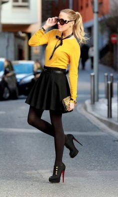 Zara in Sweaters 1  Zara in Skirts 2  Prada in Glasses / Sunglasses 3  romwe in Jewelry 4  Christian Louboutin in Ankle Boots / Booties 5