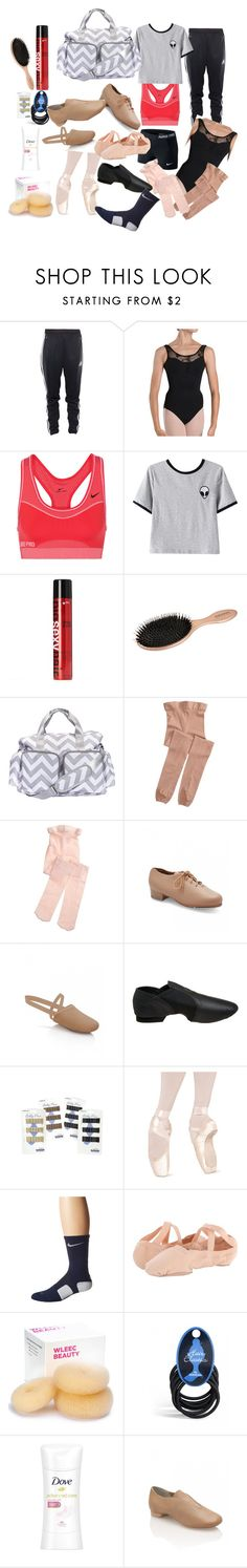 """What's In My Dance Bag"" by raheaston ❤ liked on Polyvore featuring adidas, Bloch, NIKE, Chicnova Fashion, Sexy Hair, Trend Lab, Capezio and Dove"
