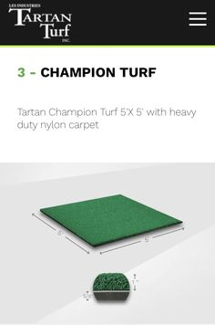 Champion Tour mat has longer, denser turf giving the ball a more natural lie, recreating fairway conditions. This allows the club face to move underneath the ball. Golf Mats, Club Face, Nylon Carpet, Tartan, Improve Yourself, Champion, Conditioner, Tours, Natural
