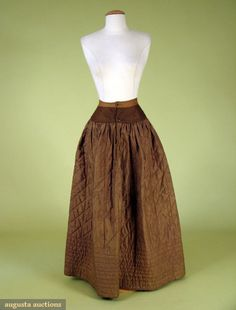 Augusta Auctions, November, 2007 -Tasha Tudor Historic Costume Collection, Lot 80: Brown Silk Quilted Petticoat, 1830-1845