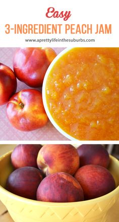 Make this Easy Peach Jam with only 3 simple ingredients! No pectin or canning re. Make this Easy Peach Jam with only 3 simple ingredients! No pectin or canning re. Make this Easy Peach Jam with only 3 simple ingredients! No pectin or canning required! Jelly Recipes, Fruit Recipes, Canning Peaches, Preserving Peaches, Preserving Food, Sauce Pizza, Jam And Jelly, Fruit Jam, How To Make Jam
