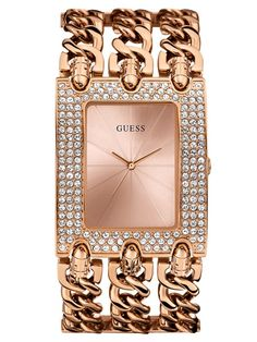 Guess Ladies Watch Heavy Metal Gold Chain Crystal - 30363 For Sale, Buy from Women's Watches collection at MyDeal for best discounts. Heavy Metal, Jewelry Clasps, Jewellery Box, Watch Sale, Adjustable Bracelet, Messing, Gold Watch, Gold Chains, Bracelet Watch