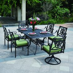 Obtain a set of patio furniture with pieces that carry the charm of old French chairs and tables! The Sensazionale Collection by Hanamint