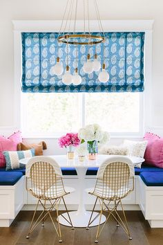vibrant colors in a breakfast nook