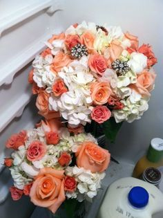 Flowers From My Wedding Costco Light Pink Carnations White Hydrangea And Roses Photo By Ashley Jayde Photography W