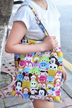 disney tsum tsum mix shopper bag tote handbag shoulder bag big spare 2015 new