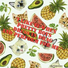Do not know what happened here Just a deleted scene quote from pitch perfect with this awesome background #background #pattern #lauramanfre #pitch #perfect #pitchperfect #cats #watermelon #pineapple #lilly