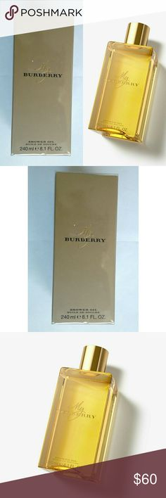 New! BURBERRY?My Burberry Shower Oil 8.1 oz BURBERRY?My Burberry Shower Oil 8.1 oz  Inspired by the trench coat and its heritage of British design and craftsmanship, My Burberry captures the fragrance of a London garden after the rain. The shower oil, with its infusion of almond oil, gently cleanses and nourishes your skin, leaving it feeling soft, smooth,??moisturized and fragrant  Notes: Sweet pea, Bergamot,  Geranium, Golden quince, Freesia, Patchouli, Damask,?Centifolia?roses  Made in…